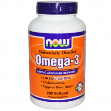 Now Foods, Омега-3, Omega-3, 200 капсул